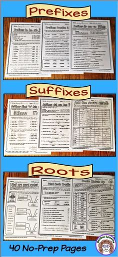 No-prep printables for prefixes, suffixes and roots! Intro sheets give definitions and examples. Practice sheets come in many different varieties so kids never get bored.