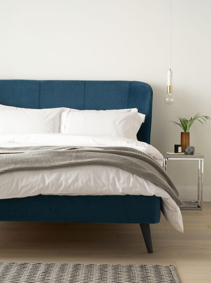 Best Mellow Teal Velvet King Size Bed Velvet Bed Frame Teal 640 x 480