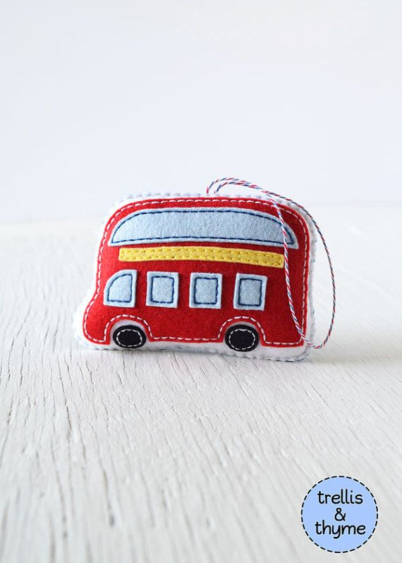 PDF Pattern - London Double Decker Bus Ornament Pattern, Felt Softie Sewing Pattern, Felt Ornament Pattern