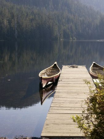 Canoes at Dock for Tours, Harriet Hunt Lake, Ketchikan, Alaska, USA Photographic…