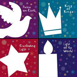 Modern Christian Christmas cards. I like these because they are a modern design, kid friendly and focus on Jesus. NOT yet another cute nativity play, or pics focussed on peripheral/legendary nativity characters like donkeys!  Have just bought them for my Sunday School class.