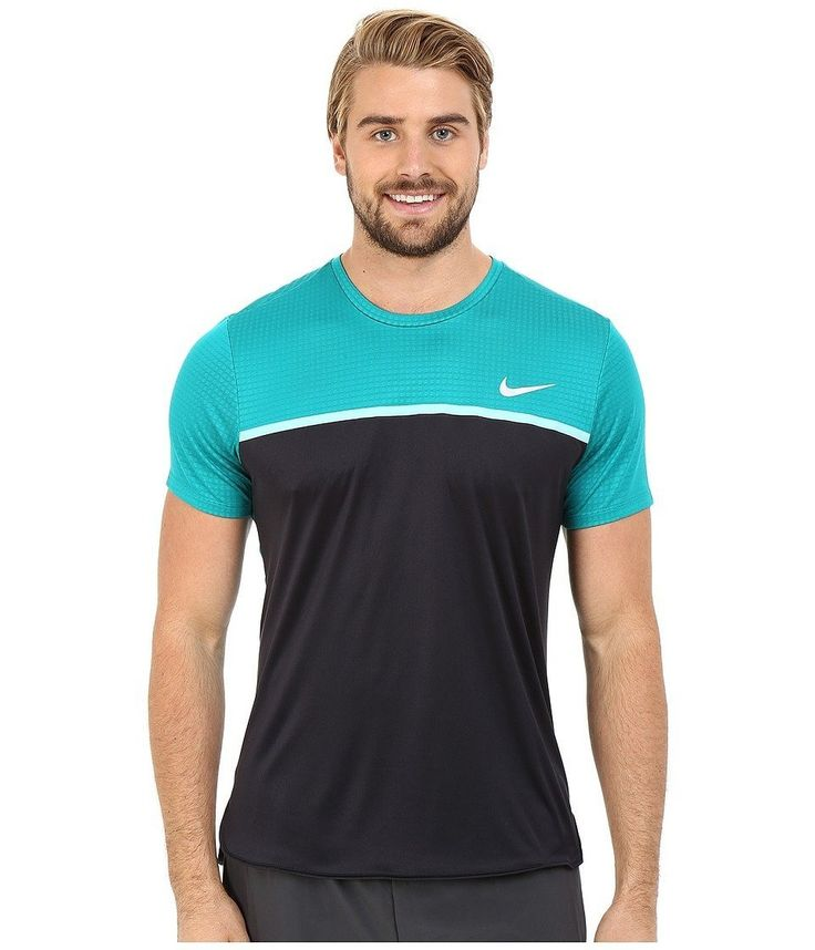 Nike Mens Dri-Fit Challenger Crew Tennis T-Shirt Teal/Black 800248-101 Dri-Fit. 100% Polyester circular knit. Machine Wash. Dri-Fit Technology. Wicks Away Moisture Rolled-Forward shoulder seams and underarm gussets for increased mobility. Dropped back hem enhances coverage Inner neck taping and a high density. Swoosh at left chest.