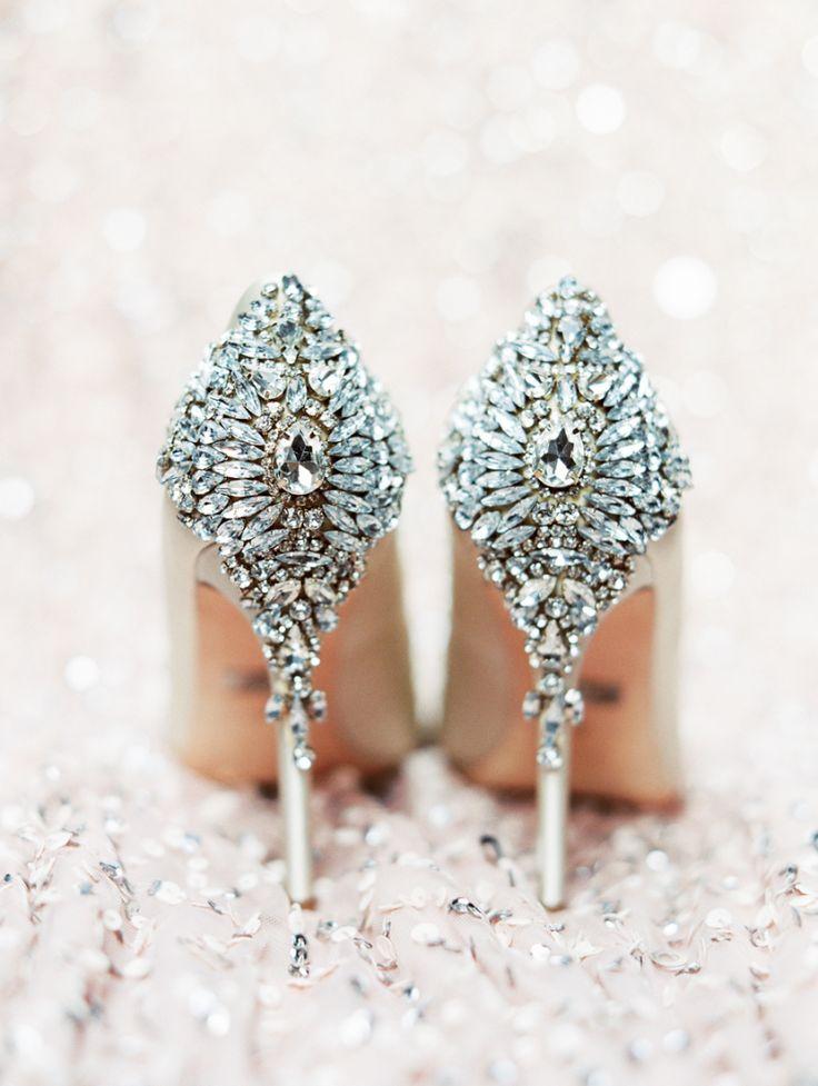 Embellished Badgley Mischka Shoes - Nude bridal shoes #weddingshoes #nude #bridalshoes #mishchkashoes