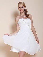 Mezuniyet kokteyl parti / mezuniyet elbise - beyaz artı-line / prenses askısız / tatlım diz boyu şifon boyutları