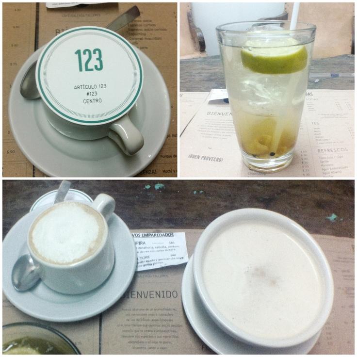 Soda Ginger, Soya Latte y Chai Latte #holacomelon #food #foodporn #foodlover #instafood #deli @cafeciento23