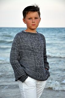 The Gossamer boy's sweater is worked from the neck down completely seamless, featuring the contiguous method developed by Susie Myers, SusieM on Ravelry (http://www.ravelry.com/people/SusieM).