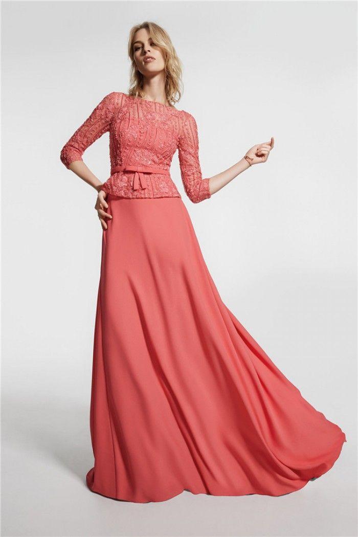 High Neck Open Back Coral Chiffon Lace 3 4 Sleeve Peplum Prom Dress Bow Belt