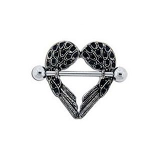 Black gem heart shaped angel wings nipple ring nipple for Angel wings nipple piercing jewelry