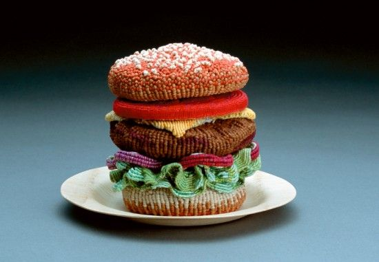 a knitted hamburger with all the trimmin's