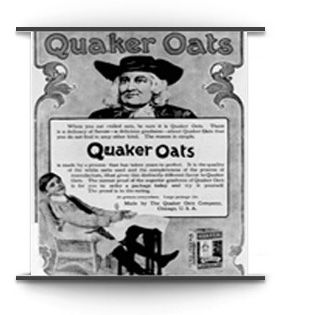 1882: Crowell launches the first national magazine advertising program for a breakfast cereal Quaker Oats.