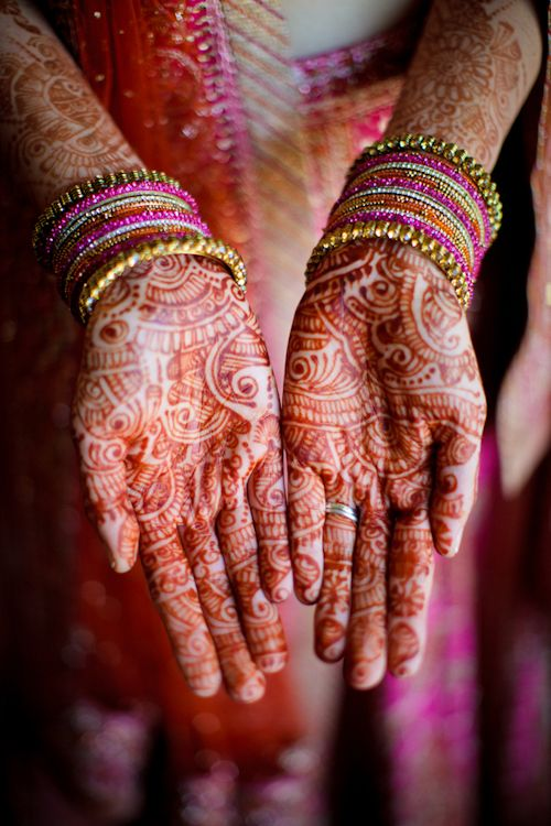 Love this image of the bride's artfully decorated hands and arms, photo by Cathy and David Photographers | junebugweddings.com