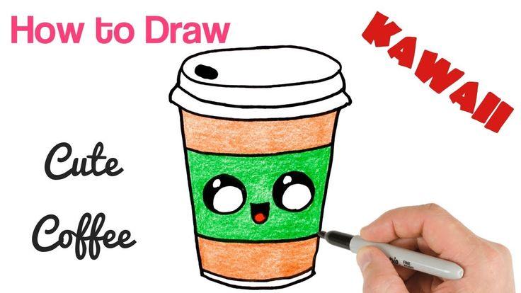 draw easy drink coffee drawing kawaii drawings fun