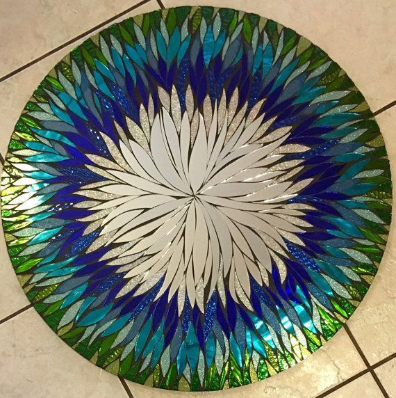 Custom Made 24 In. Any Color- 4 Week Lead Time Floral Handmade Glass Mosaic Mirror #StainedGlassMirror