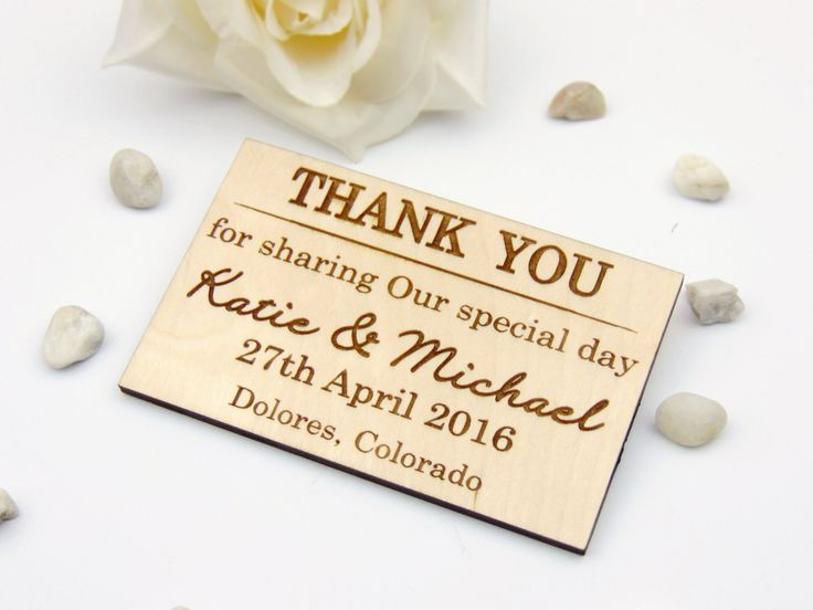 Elegant Custom Wedding Thank You Magnets Set of 25, Laser cut & Engraved, Personalized Wedding Favors, Wood Tags with envelopes by HomeWoodAndTextile on Etsy