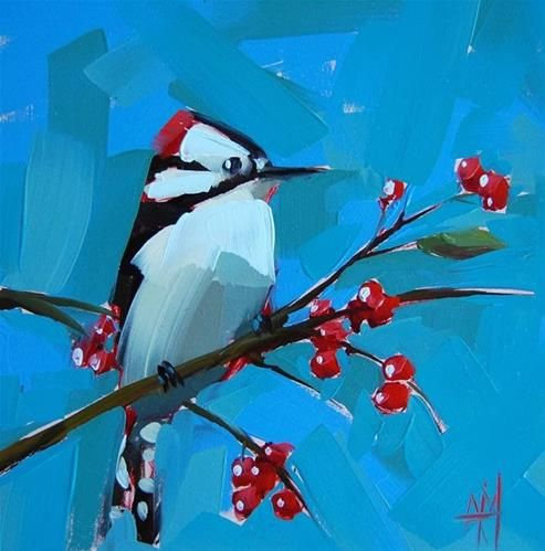 """Downy Woodpecker"" - Original Fine Art for Sale - © Angela Moulton"