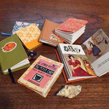 """Free printable """"The Tiny Library"""" from The Toymaker.  *Here are some little books to print out to make a tiny library of books. * If you cut and fold blank sheets of paper and glue them together, *You can make tiny sketch books or write your own story. Be creative!"""""""