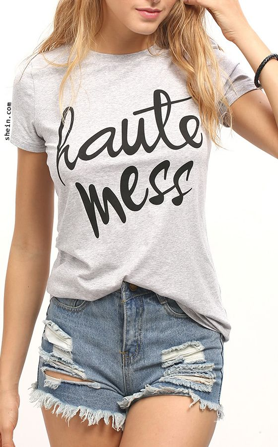 727fdee0d86 Letter Printed Casual T-Shirt