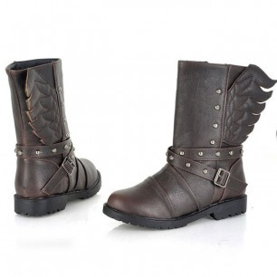 39,00 € ----- Bottes marron ailes d'ange.  On ose la différence !  Des bottes aux ailes d'ange qui permettent de jouer sur les deux tableaux : sagesse de l'ange et rébellion de la rockeuse.  Pour vous les femmes contemporaines qui aimez cette ambivalence, ces bottes sont faites pour vous.