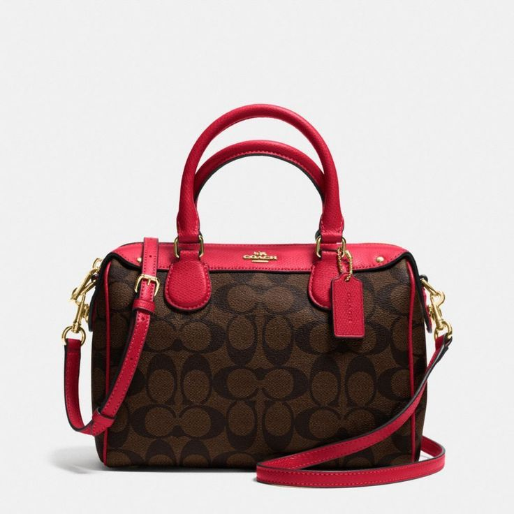 Coach Signature Print Mini Bennett Satchel Shoulder Bag Crossbody Brown Red #Coach #Satchel