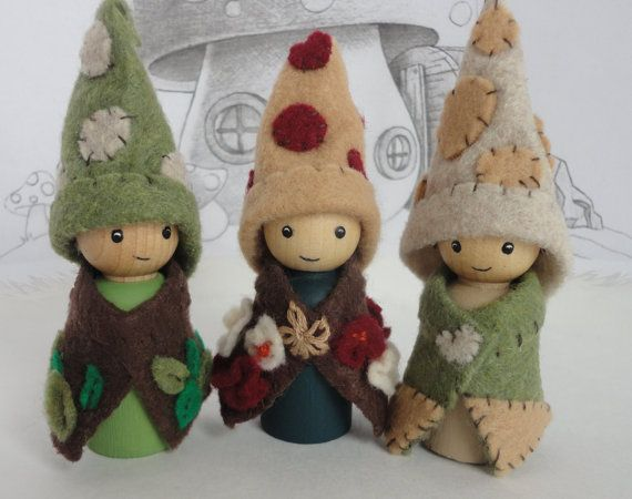 Waldorf gnomes, gnome, waldorf toy  Call them gnomes or woodland folk, these little ones are sure to delight your little one! This set has been hand