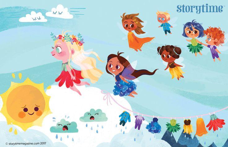 Adorable Rainbow Fairies in Storytime Issue 35's poem. Illustration by Anoosha Syed (http://www.anooshasyed.com) ~ STORYTIMEMAGAZINE.COM