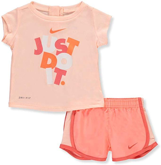 Amazon Com Nike Baby Girls Dri Fit 2 Piece Outfit Crimson