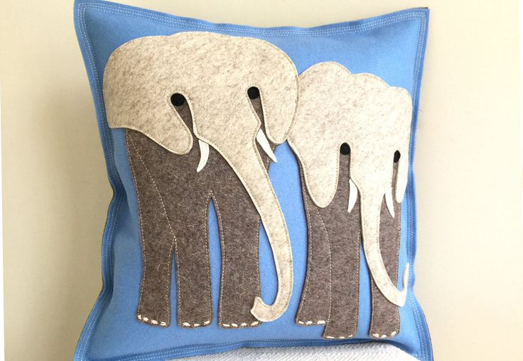 Elephant Safari Pillow in Light Blue and Grey Wool Felt, Elephant Friends Pillow, Safari Nursery Theme by CheekyMonkeyHome on Etsy https://www.etsy.com/listing/264181176/elephant-safari-pillow-in-light-blue-and
