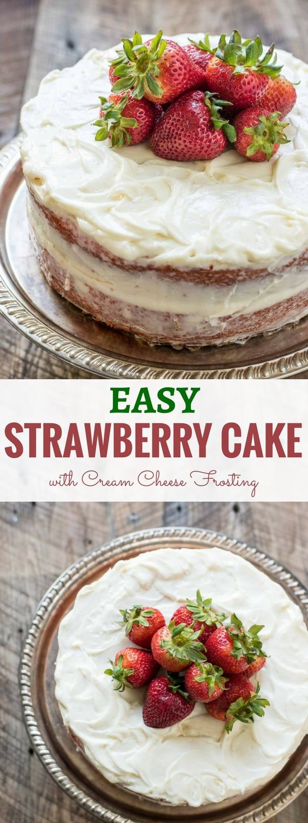 This EASY Strawberry Cake recipe makes a lovely pink layer cake full of fresh strawberry flavor and layered with cream cheese frosting.