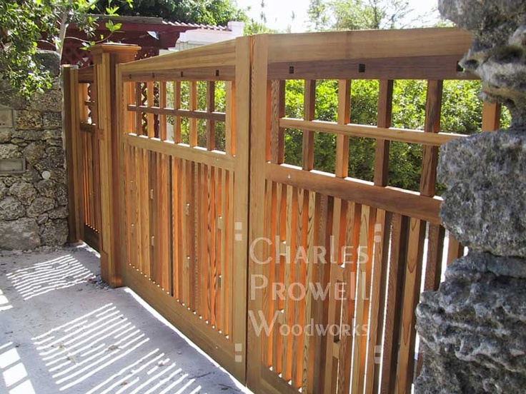58 best fences images on pinterest fence design fence for Wooden driveway gate designs