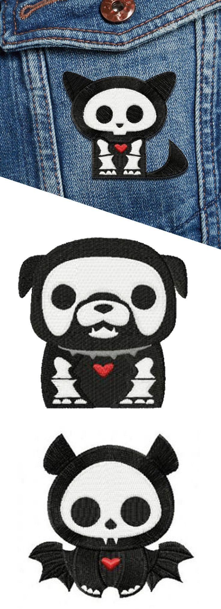 Shop creepy cute Skelanimals custom patches at RebelsMarket!