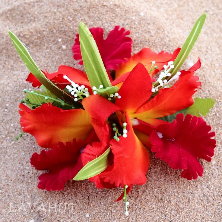 Cattleya Red Hawaiian Flower Hair Clip