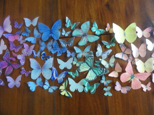 150 RAINBOW ASSORTED MULTICOLORED GREEN ORANGE YELLOW BLUE RED PURPLE Small Medium & Large Edible Butterflies Assorted Set - Cake Decorations, Cupcake Topper Perfect for Wedding Birthday Cakes null,http://www.amazon.com/dp/B00KERDHHM/ref=cm_sw_r_pi_dp_whnEtb1XGHHDHVVR