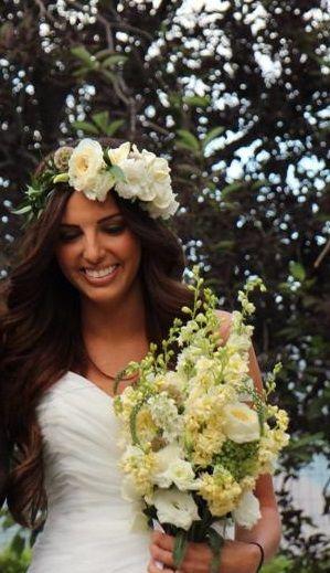 Gorgeous Garden Rose and Gardenia Floral Crown by Amber Shields Floral Design ambershieldsfloraldesign.com
