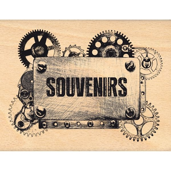 Tampon bois ENGRENAGE DE SOUVENIRS