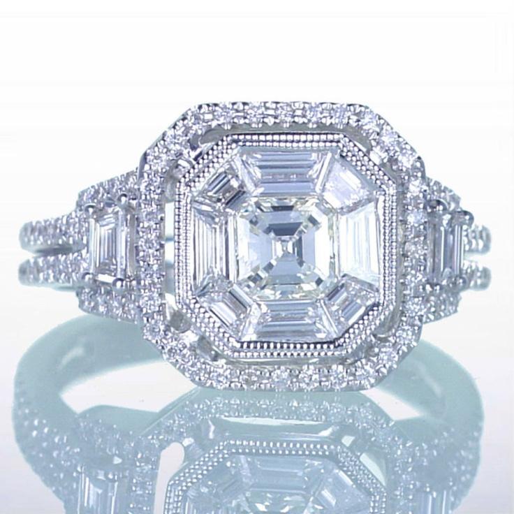Asscher Cut Diamond Engagement Wedding Anniversary Ring. $4,880.00, via Etsy.