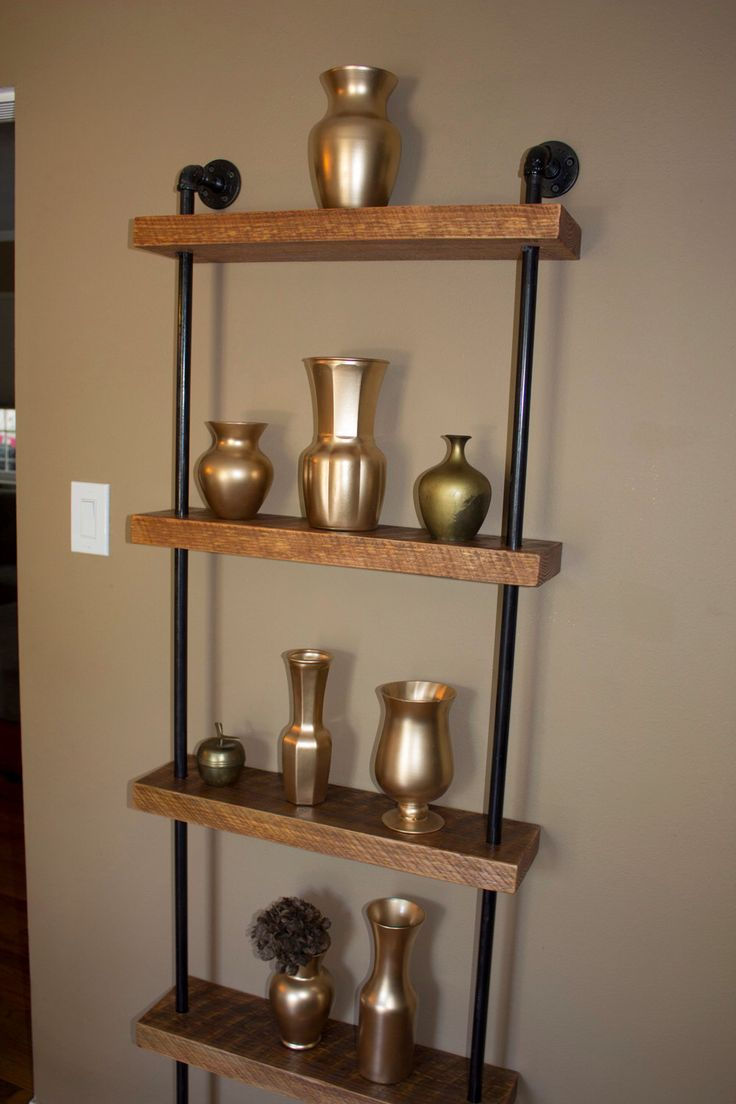 Industrial wall unit, Pipe shelving unit, Reclaimed barn wood ...