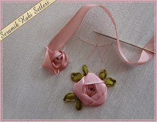 The work of the municipal tapes rose - a rose in ribbon embroidery ~ Knitting NEEDLE CRAFTS