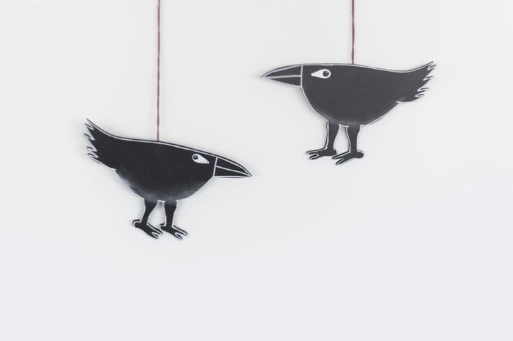 Handmade wooden Black Raven and Crow wall art. NY artist Alice Muhlback draws heart into the evocative spirited characters and renders in a painterly style as well as simple line. Each character is an iconic symbol for a soulful word or intention.