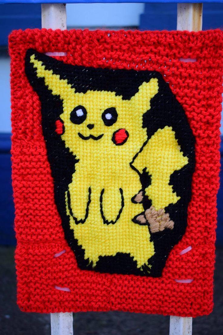 Pikachu yarn bomb style