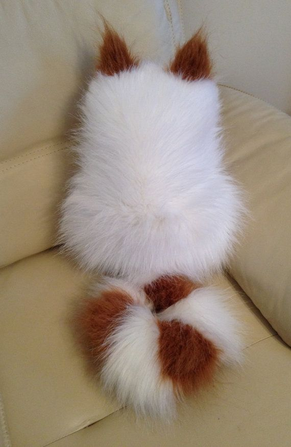 Snow White And Ginger Faux Fur Cat Pillows Elle Vintage