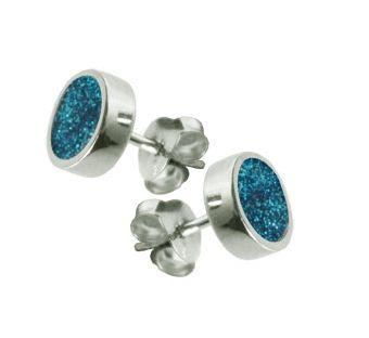 Turquoise Glitter Stud earrings