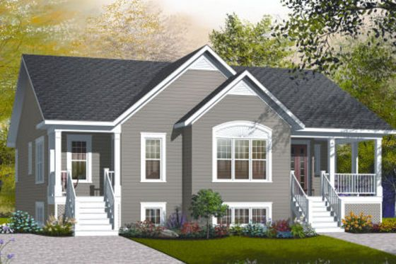 House Plan 23-2195 - Love this plan with 2 BR on one side and 1 BR on the other.