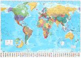 """55"""" x 39"""" World Map Posters- Either Vintage or in Color"""