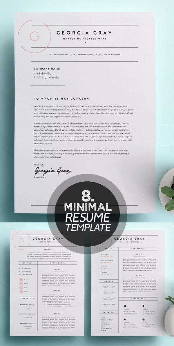 25 Best Minimalism Resume Templates 2018 Design Graphic Design Junction Bewerbung Lebenslauf Vorlage Lebenslauf Design Anschreiben Design