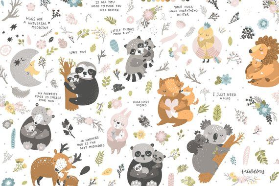 Cute Animal Clipart Digital Paper Pack Koala Clipart Mother Etsy In 2020 Cute Animal Clipart Baby Animal Art Animal Hugs