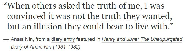 Anaïs Nin, from a diary entry featured in Henry and June: The Unexpurgated Diary of Anais Nin (1931-1932)