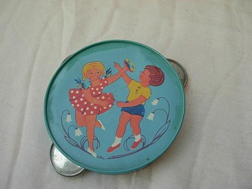 vintage Romanian tin toy tambourine imprint lithography 1960's | eBay