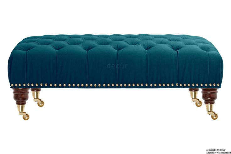 The Catherine velvet footstool is upholstered in a stunning velvet fabric in the colour Peacock. This buttoned footstool is available with optional storage!
