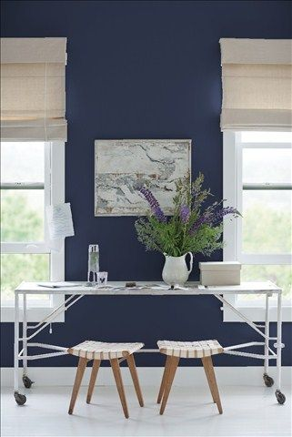 Look at the paint color combination I created with Benjamin Moore. Via @benjamin_moore. Wall: Old Navy 2063-10; Trim: Silver Half Dollar 2121-40.