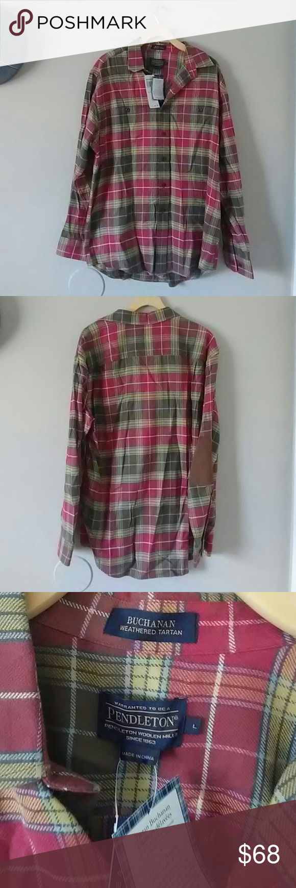 Pendleton Buchanan weathered tartan shirt. Pendleton Buchanan weathered tartan shirt. Body 100 % cotton. Trim 100% polyester. Beautiful red and olive green plaid shirt with brown patch elbows. NWT. Offers Welcome. Pendleton Shirts Casual Button Down Shirts